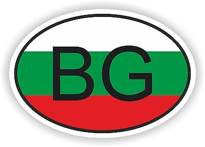 OVAL FLAG WITH BG BULGARIA COUNTRY CODE STICKER CAR MOTOCYCLE AUTO TRUCK