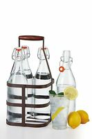 4 Large 32oz 1 Liter Glass Easy Cap Water Beer Bottles With Lids + Caddy Carrier