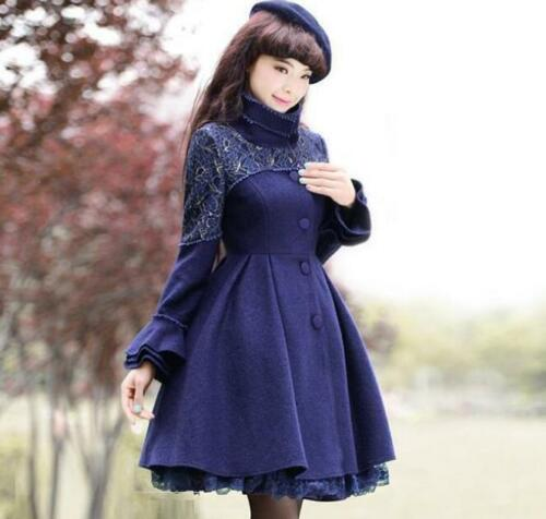 D422 Sleeve Coat Outwear Blend Uld Sweet Lolita Bell Stilfuld Kvinders Blonder Blomster qP647w0