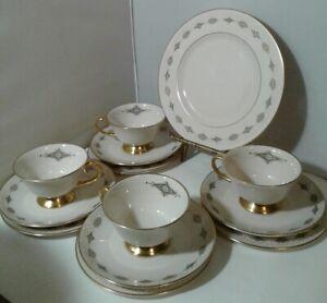 Gorham-Flintridge-13-BLUE-MEDALLION-CUPS-SAUCERS-BREAD-PLATES-1-SALAD-PLATE-LOT