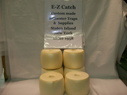 Shrimp Minnow Trap Marker USA Made Buoy Lobster 6 Pack White Crab Pot Floats