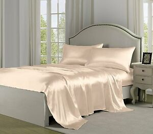 Queen Size Satin Sheets Linens Sets Ivory Luxury Smooth
