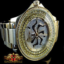 REAL DIAMOND MEN KING MASTER JOJINO JOJO JAPAN MOVEMENT GOLD FINISH CUSTOM WATCH