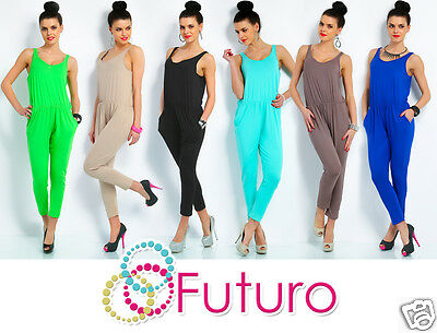 Ladies Jumpsuit Strappy Sleeveless Catsuit Playsuit Hot Colours Size 8-12 FT703