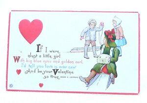 Antique-1919-Victorian-Color-Embossed-Children-Valentine-039-s-Day-Signed-Postcard
