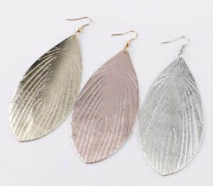 Feather and leather dangling earrings