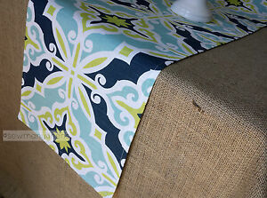 Details about Navy Aqua Blue Turquoise Lime Green Table Runner Home Decor  Linens Centerpiece