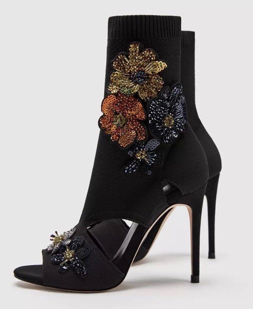 Sandale Stiefeletten, ZARA, schwarz, Gr 37, Peeptoe, Stoff, sehr gut. Zustand
