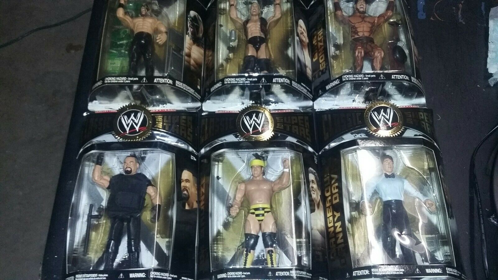 Lot of 6 WWE WWF Classic Superstars Action Figures big boss man Steve austin +