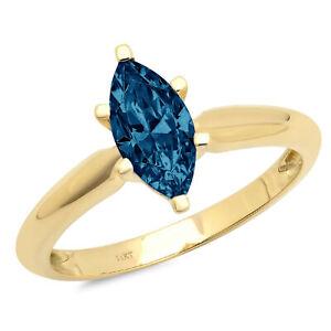 1 ct Marquise Cut London Blue Topaz Wedding Bridal Promise Ring 14k...