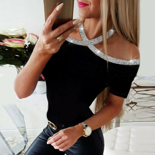 Women Sequin Long Sleeve Shirt Tops Ladies Casual Slim Fit Blouse Tee Size 8-14