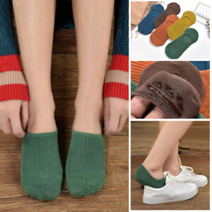 5-Pairs-Women-Invisible-Non-slip-Loafer-Boat-Ankle-Low-Cut-Luxury-Cotton-Socks