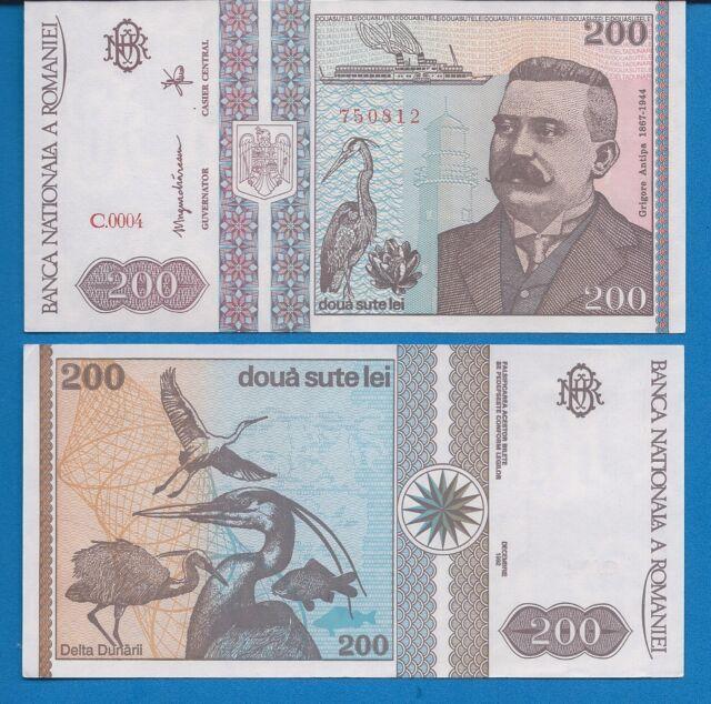 Romania P-100 200 Lei Year 1992 Uncirculated Banknote Europe