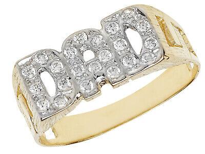 9CT SOLID YELLOW GOLD WHITE CUBIC ZIRCONIA CZ NAN NANNY BASKET SIDE RING BAND
