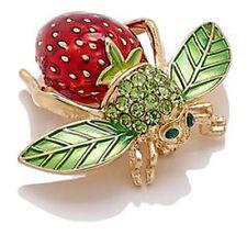 NEW! Joan Rivers Strawberry Bee Pin Enamel Crystal Brooch