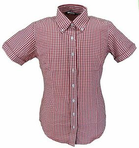 Relco-Retro-Red-Gingham-Ladies-Button-Down-Short-Sleeved-Shirts