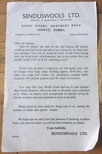Senduswools LTD Reminder Letter Detailing Price of Wool & Transport Ossett Yorks