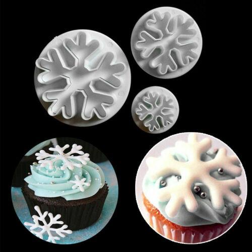 3pcs Snowflake Plunger Cutter Mold Sugarcraft Fondant Cake Decorating Tool UK4