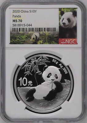 1 Pair NGC MS70 2020 China Panda Silver 30g Coin Beijing Coin Expo Show Releases