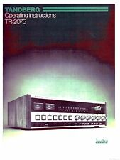 Tandberg TR-2075 Receiver Rare Owners Manual ~LOOK~