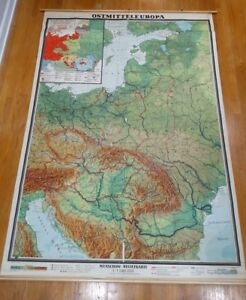 Beautiful Vintage relief map Eastern Europe Wenschow physical school ...