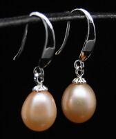 """MP"""" Lovely AAA+ 9-10mm pink dangle pearl 925S earrings"""