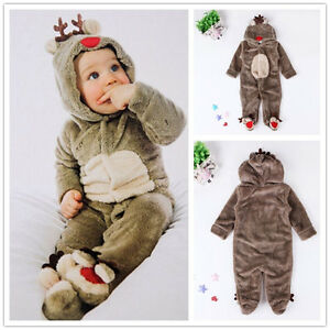 f94aa1fd3 Newborn Toddler Baby Boy Girls coral fleece Romper Warm Hooded ...
