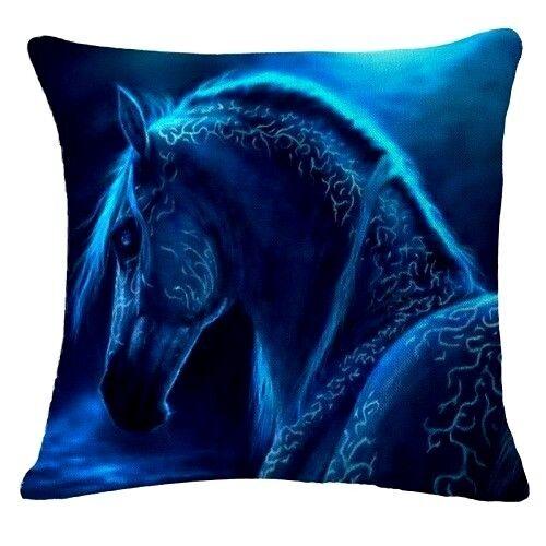 AUS SELLER CUSHION COVER..ELECTRIC BLUE HORSE....45 x 45cm