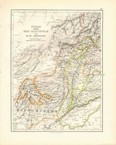 Details about 1897 ANTIQUE MAP- JOHNSTON - INDIA -WEST PUNJAB,BRITISH  BALUCHISTAN, NW FRONTIER