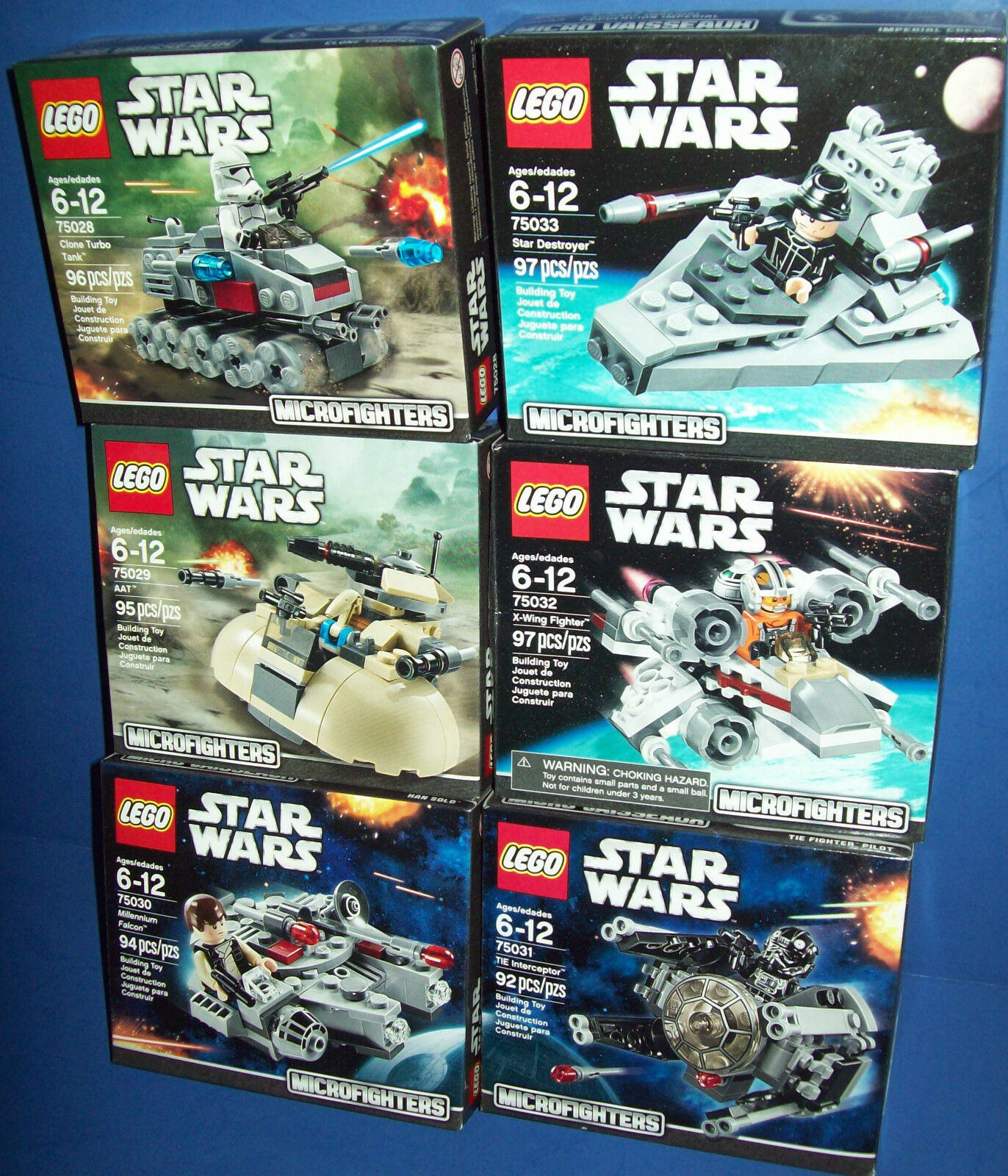 LEGO Star Wars LOT 75028 75029 75030 75031 75032 75033 6 MICROFIGHTERS SERIES 1