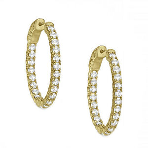 1-50-Carat-SI2-Diamond-Hoop-Huggies-Eternity-In-And-Out-14K-Yellow-Gold-Earring