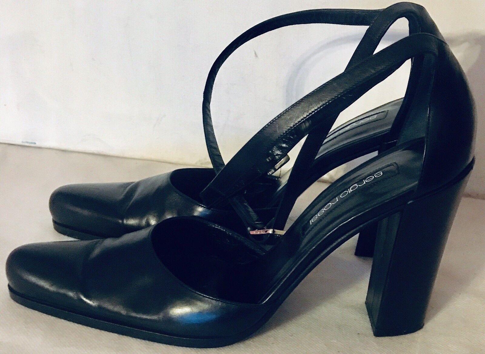 Sergio Rossi Women's Black Leather Block Block Block Heels D'Orsays Size 10 M 41 EUC 5ced0b