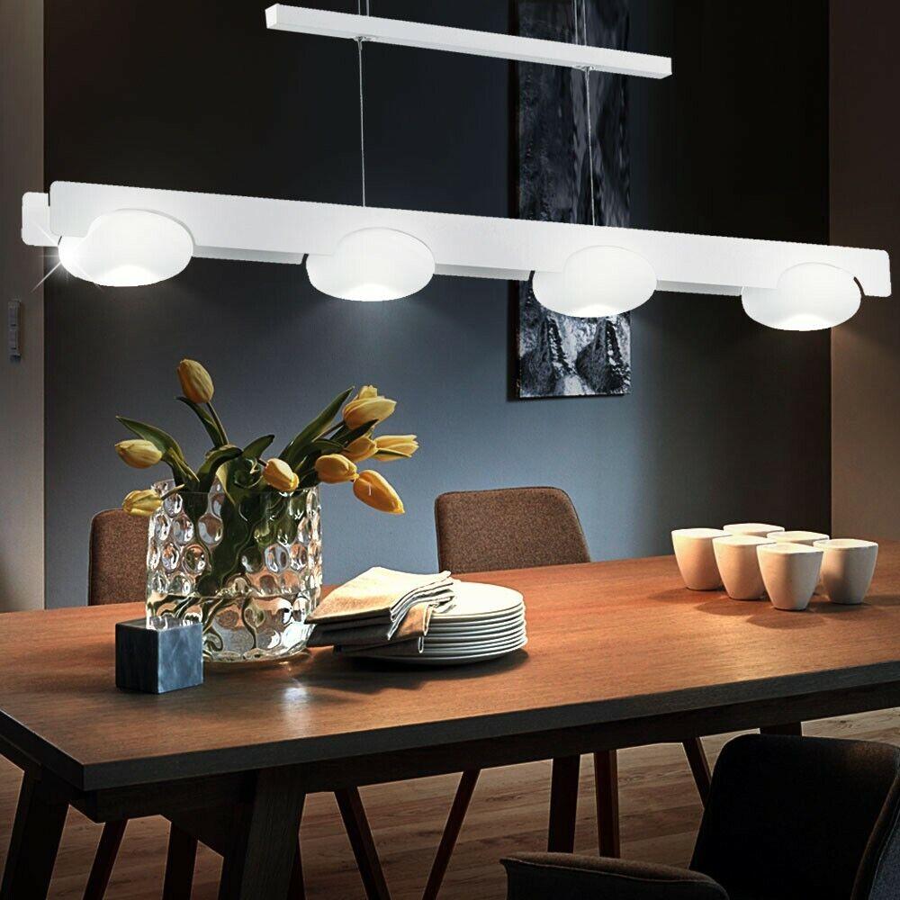 Elegante LED Hänge Lampe Glas Kugel Wohn Ess Zimmer Tisch Pendel Leuchte 4x 6 W