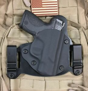 leather//kydex hybrid OWB beltslide holster Glock 30s
