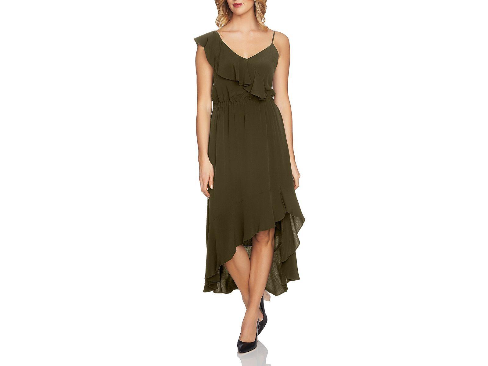 NEW  220 1. STATE Women's GREEN RUFFLED ASYMMETRIC SLEEVELESS DRESS SIZE L