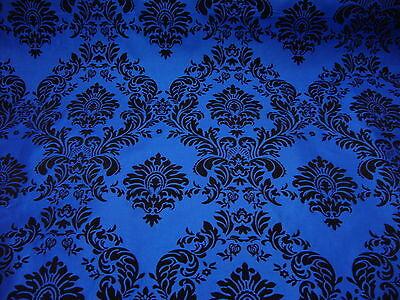 "10 Yards Royal Blue Black Flocking Damask Taffeta 3D Fabric 58"" Flocked Velvet"
