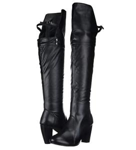 zapatosvibe Wohombres Lexy encima de la rodilla Bota Negro-Overstock