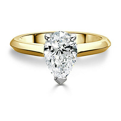 2.50 Ct Pear Cut Real Moissanite Rings 14k Yellow Gold Engagement Rings Size J K Other Fine Rings