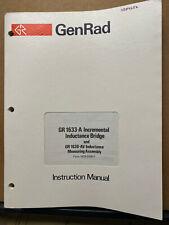 General Radio Instruction Manual Gr 1633 A Inductance Bridge 1630 Av Service