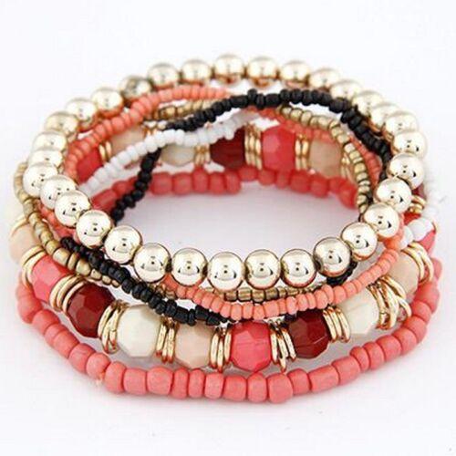 2017 Trendige Mode Bonbon Farbe Pearl Mehrschichtig Bettelarmband Armreif