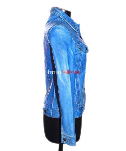 Ladies Trucker Stone Washed Denim Blue Real Smart Lambskin Leather Shirt Jacket