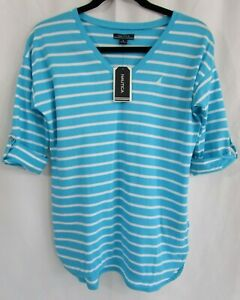 NAUTICA-Women-039-s-V-Neck-High-Low-Hem-Soft-amp-Light-Roll-Tab-Tee-NWT