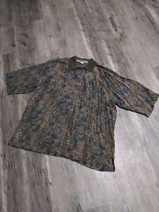 Nine Twenty East Men's Button Front Shirt Size XL 100% Pure Silk Multi Color