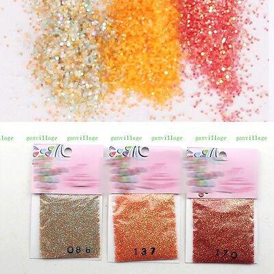 3 Pcs/set Sweet Orange Red Gradient DIY Nail Art Tips Shimmer Glitter Powder New