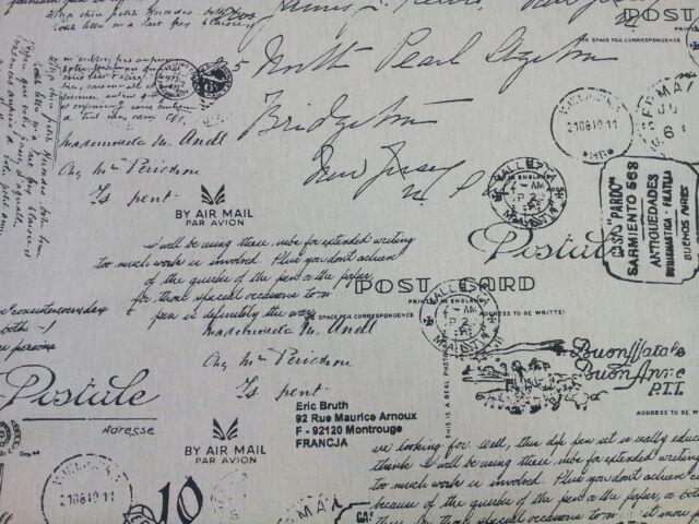Vintage Manuscript Postcard Script Charcoal Designer Curtain Fabric
