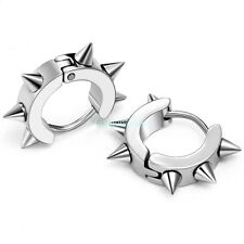 Punk Style Stainless Steel Awl Taper Rivets Spike Men's Huggie Hoop Earrings