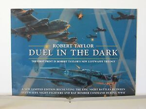 Duel-in-the-Dark-Me110-RAF-Lancaster-Bomber-Robert-Taylor-Aviation-Art-Brochure
