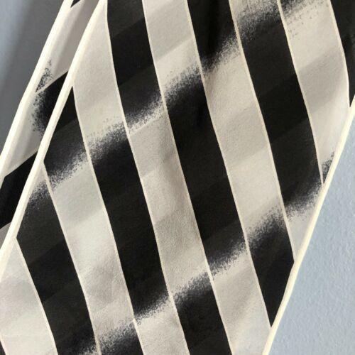 """Katja 60"""" Skinny Scarf Sheer Black White Stripe Bo"""