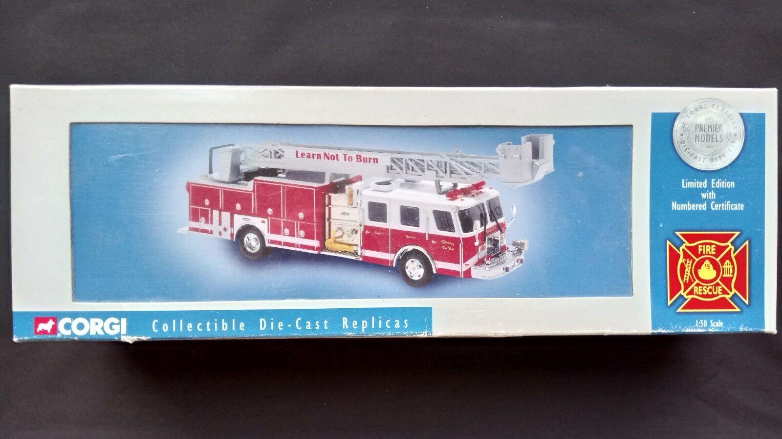 CORGI Duncan FIRE DEPT E-ONE 75 ft (environ 22.86 m) échelle 1 50 Limite Edition 2401 3900 New BOXED
