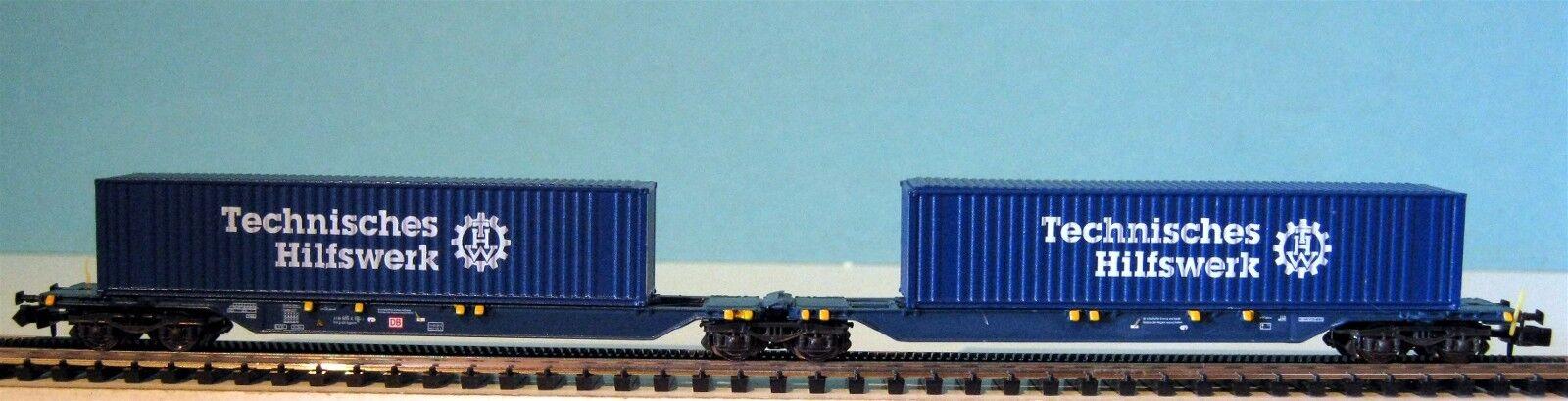 Hobbytrain Db Ag container portante carrello con 2 x 40  THW con quinta, NUOVO, OVP, M 1:160